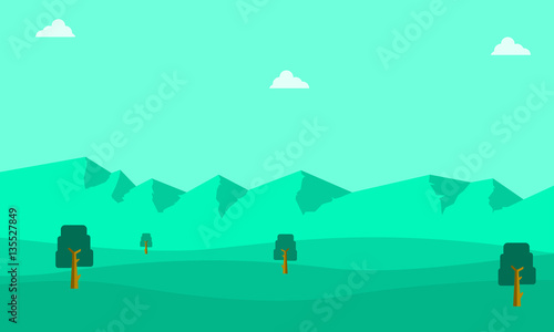 Poster Groene koraal Silhouette of mountain landscape backgrounds
