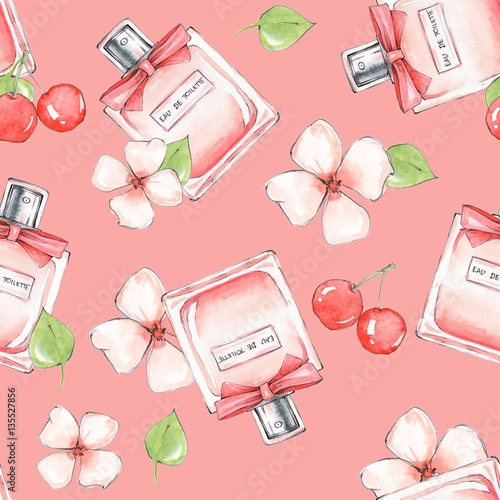 Cotton fabric Bottle of perfume and flowers. Seamless pattern. Hand drawn fashion background 20