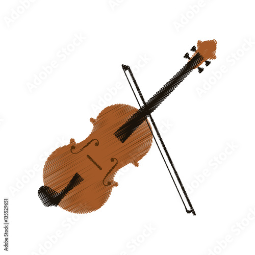 Fototapeta fiddle instrument icon over white background