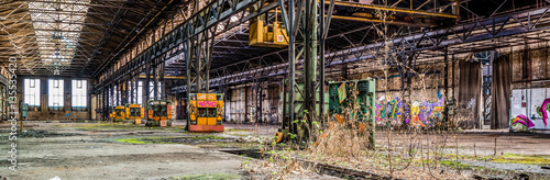 Poster Oude verlaten gebouwen Alte Fabrik Panorama