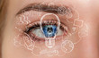 canvas print picture Close-up of woman eye with hand drawn project 3D rendering