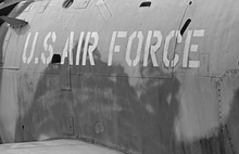 Words U.S Air Force On A Jet That Was Shot Down During Vietnam War. The War Ended In 1975.