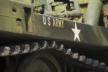 Tank Close-up With Text US Army On It.