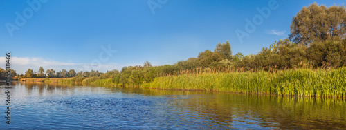 Printed kitchen splashbacks River Panorama of a small river in Polesie a bright sunny summer day