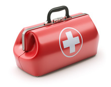 First Aid Kit In Retro Red Doctor's Bag