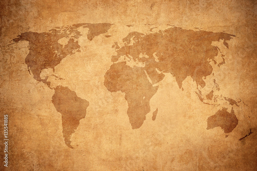Foto op Canvas Wereldkaart grunge map of the world