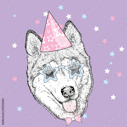 Cute puppy in a celebratory cap and funny glasses. Vector illustration. Postcard or poster, print on clothes. A party.