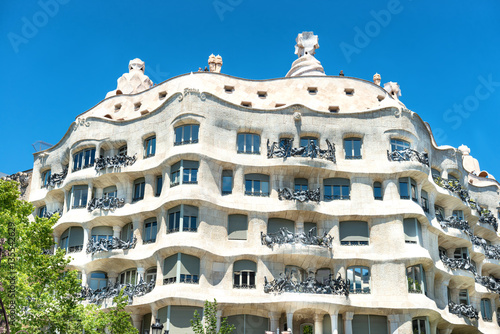 Facade of Casa Mila in Barcelona