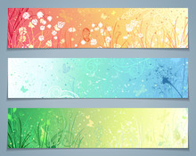 Vector Set Of Floral Banners.