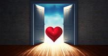 Open Door To Sky With Red Heart Shape