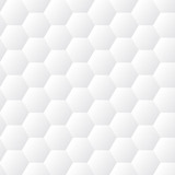 Bezszwowa dented sześciokątów tekstury biała ściana. Tło wektor wzór o strukturze plastra miodu - 135554627