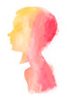 Watercolor girl digital illustration