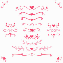 Vector Set With Romantic Divid...