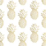 Złote tło ananasa. Ilustracji wektorowych. - 135564248