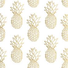 Gold Pineapple Background. Vec...