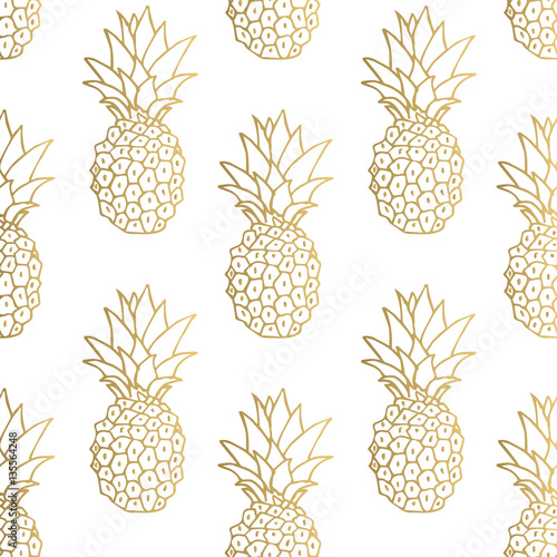 Gold pineapple background. Vector illustration. Wall mural