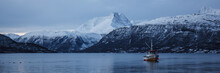 Boat In A Winter Fjord, Norway