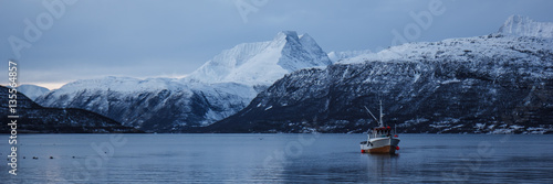 Wall Murals Northern Europe Boat in a winter fjord, Norway