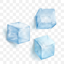 Vector Illustration Realistic Blue Solid Ice Cubes On Transparent Background