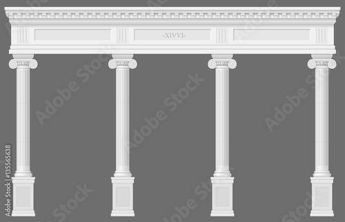 Fotografie, Obraz  Antique white colonnade with Ionic columns