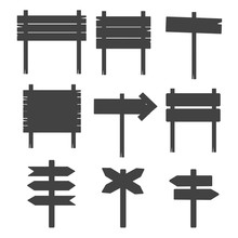 Wooden Blank Sign Boards Silhouettes Isolated On White Vector
