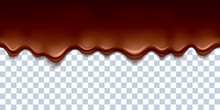 Melted Flowing Chocolate Drips Border Vector Illustration.