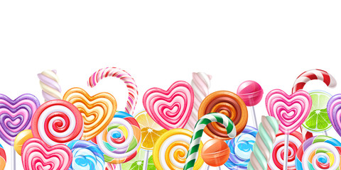 Fototapeta Do cukierni Lollipops candy border background. Hard candies on stick.