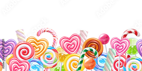 mata magnetyczna Lollipops candy border background. Hard candies on stick.