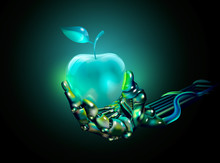 Apple. Glass Apple In A Hand