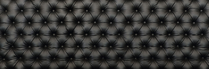 horizontal elegant black leather texture with buttons for patter