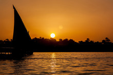 Sunset Over Nile In Egypt