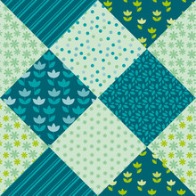 Pale Spring Color Tulip Flower And Geometry Motif Patchwork. Sim