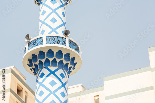 Minaret Of A Mosque In Dubai Tablou Canvas