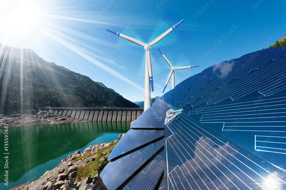 Fototapety, obrazy: Renewable Energy - Sunlight with solar panel. Wind with wind turbines. Rain with dam for hydropower