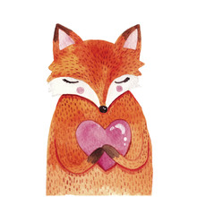 Watercolor Cute Fox With Heart