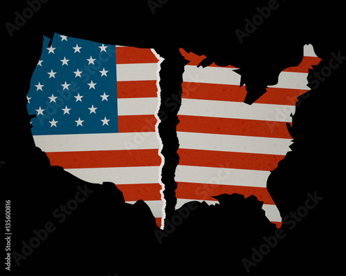 Fotomural American Flag Map torn apart - Divided we Fall