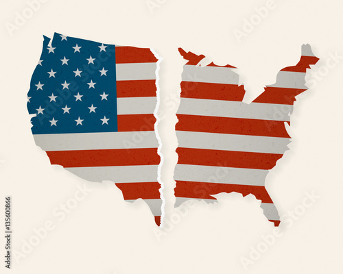 Cuadros en Lienzo American Flag Map torn apart - Divided we Fall