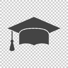 Graduation Cap Flat Design Icon. Finish Education Symbol. Graduation Day Celebration Element. Vector Illustration On Isolated Background.