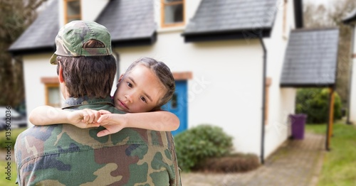 Fotografie, Obraz  Soldier embracing his daughter on home coming
