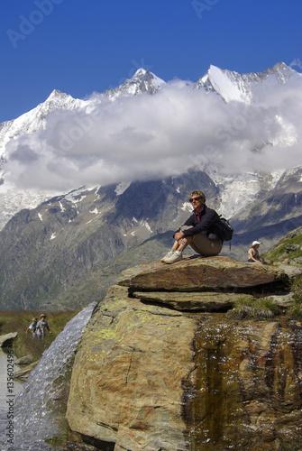 Fotobehang School de yoga SAAS-FEE - KREUZBODENSEE - Wandern unter Viertausendern - Dom 4545m