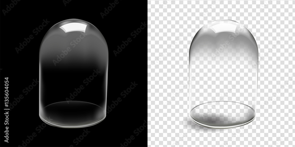 Fototapety, obrazy: Glass dome vector in black background,..Glass dome vector illustration isolated and transparent