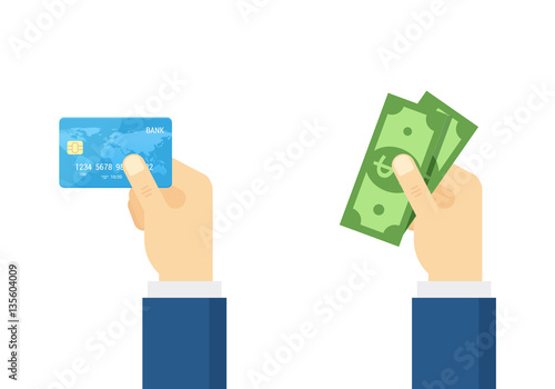 Fotografía  Hand holding debit credit card and cash - vector illustration.