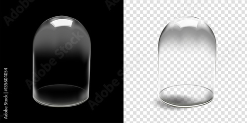 Fotografia  Glass dome vector in black background,