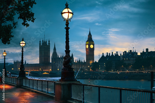 Poster Londres London sunset skyline Bigben and Thames