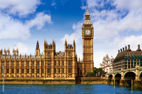 Foto-Kassettenrollo premium - Big Ben London Clock tower in UK Thames