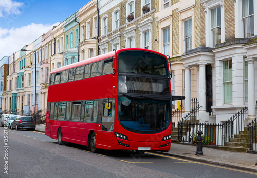 Poster Londres bus rouge London bus near Portobello road in UK