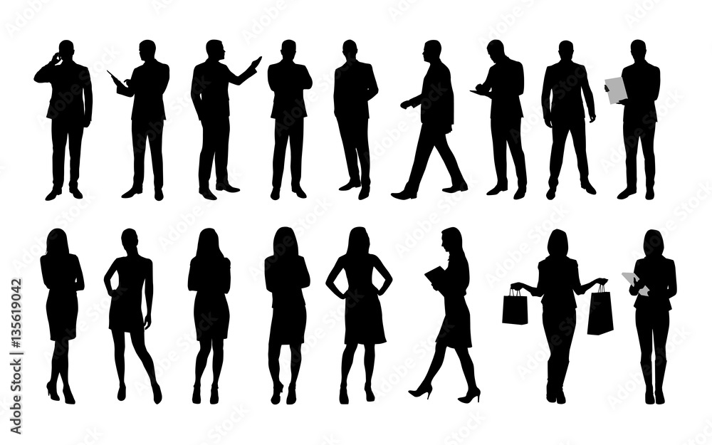 Fototapeta Business people, large set of vector silhouettes of men and wome