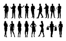 Business People, Large Set Of Vector Silhouettes Of Men And Wome