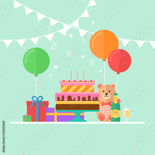 Poster Castle Vector illustration of birthday party