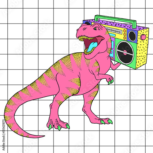 Photo  Tyrannosaurus Rex with boombox in retro 80s style